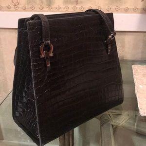 Classic rare vintage Ferragamo calf embossed bag